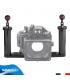 Staffa in Alluminio con Supporto Regolabile per Fotocamere Compatte e Videocamere Subacquee con Doppia Impugnatura in Carbonio