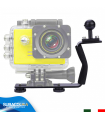 Staffa in Alluminio con Supporto Fisso per Fotocamere e Videocamere Subacquee GoPro e Compatte Mono Impugnatura