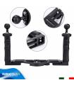 Staffa in Alluminio con Supporto Regolabile per Fotocamere Compatte e Videocamere Subacquee con Doppia Impugnatura