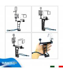 Staffa in Alluminio con Supporto Fisso per Fotocamere e Videocamere Subacquee GoPro Mono Impugnatura