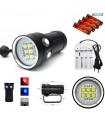 Torcia Subacquea per Foto e Video, Modello L6, 6 LED 9090, 6000 Lm