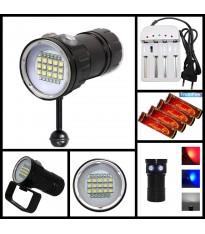 Torcia Subacquea per Foto e Video, Modello L15, 15 LED XM-L2 U2, 6000 Lm